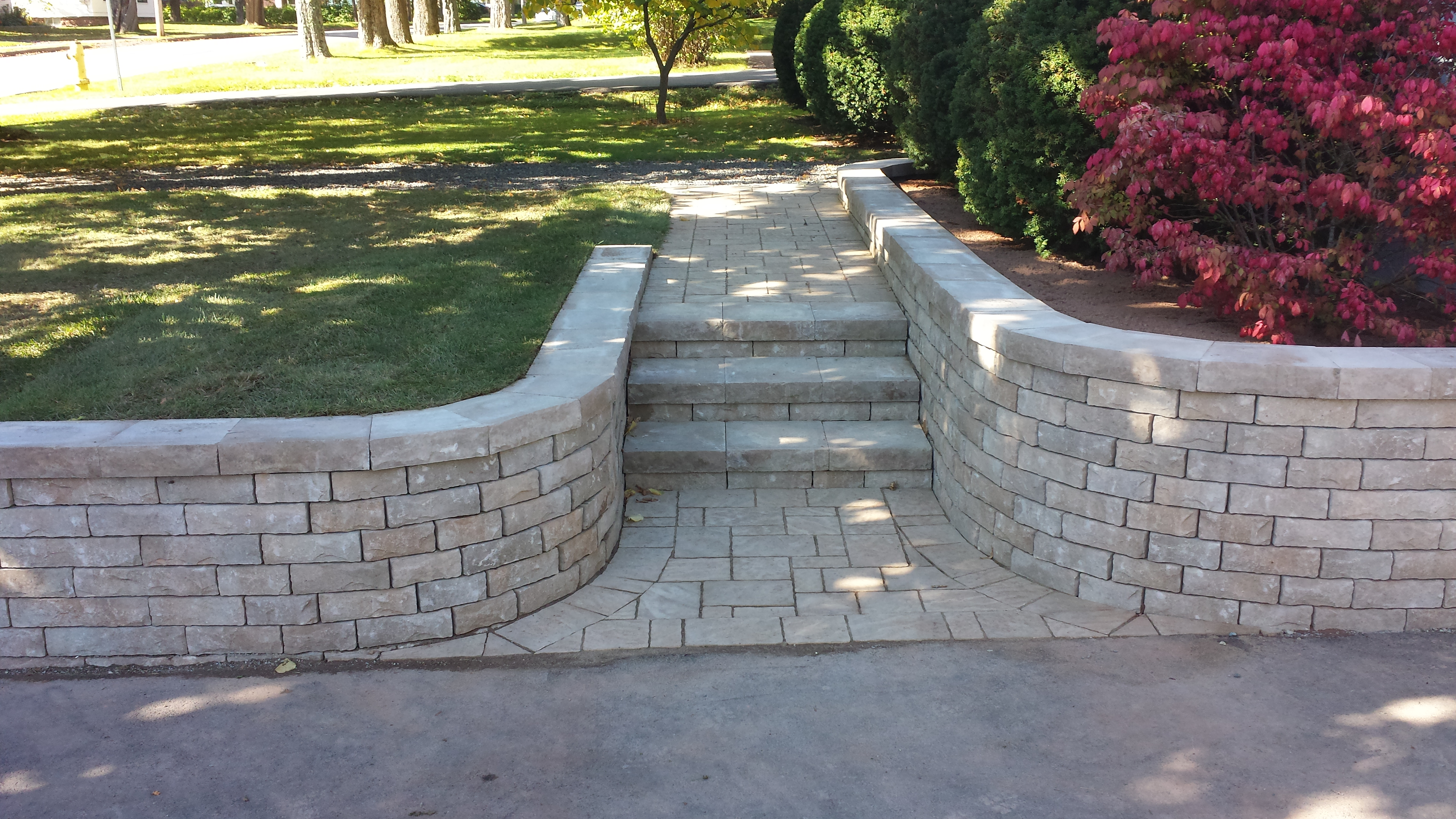Curve Retaining and stone step