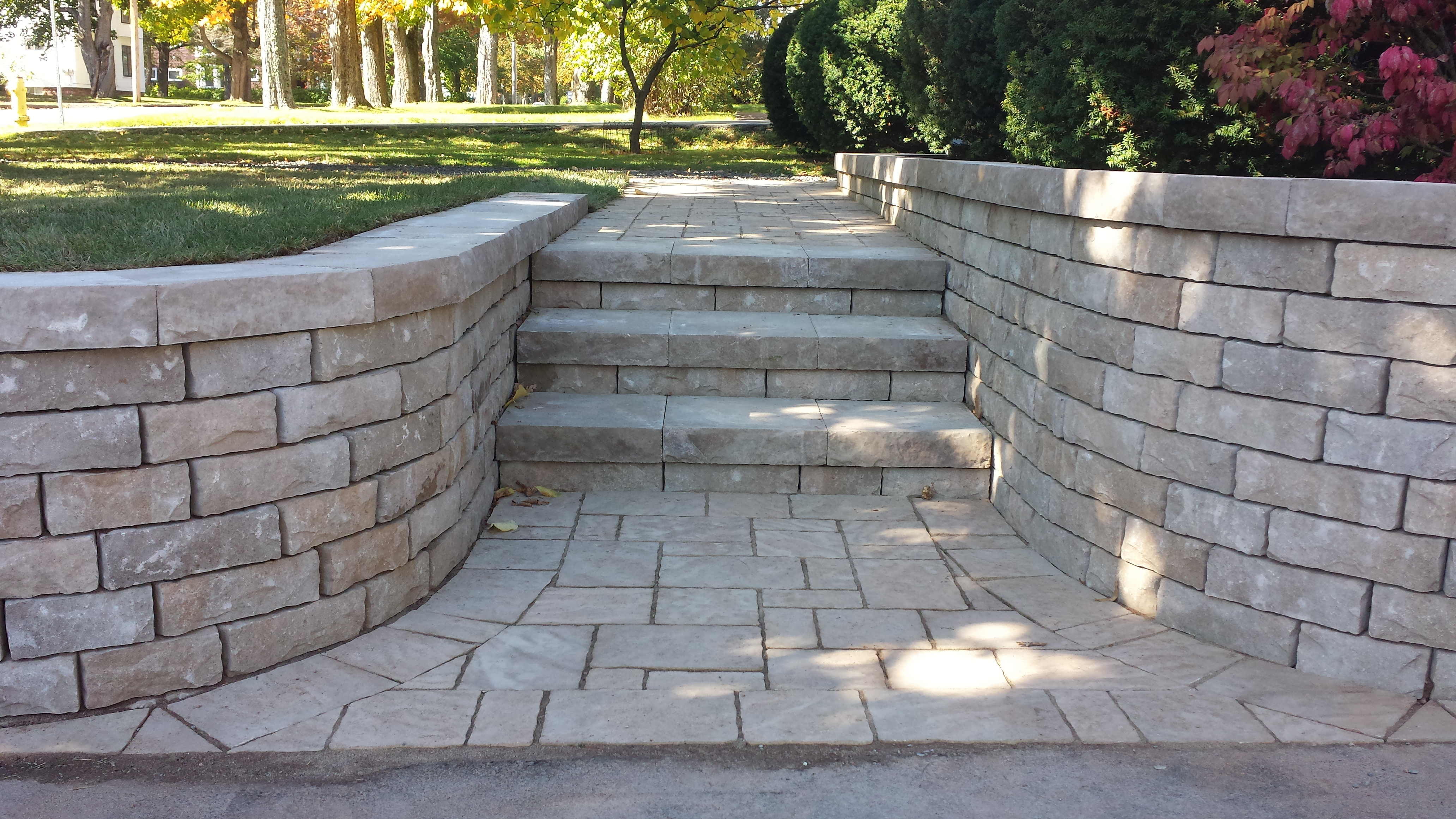 curve retaining and stone step 3