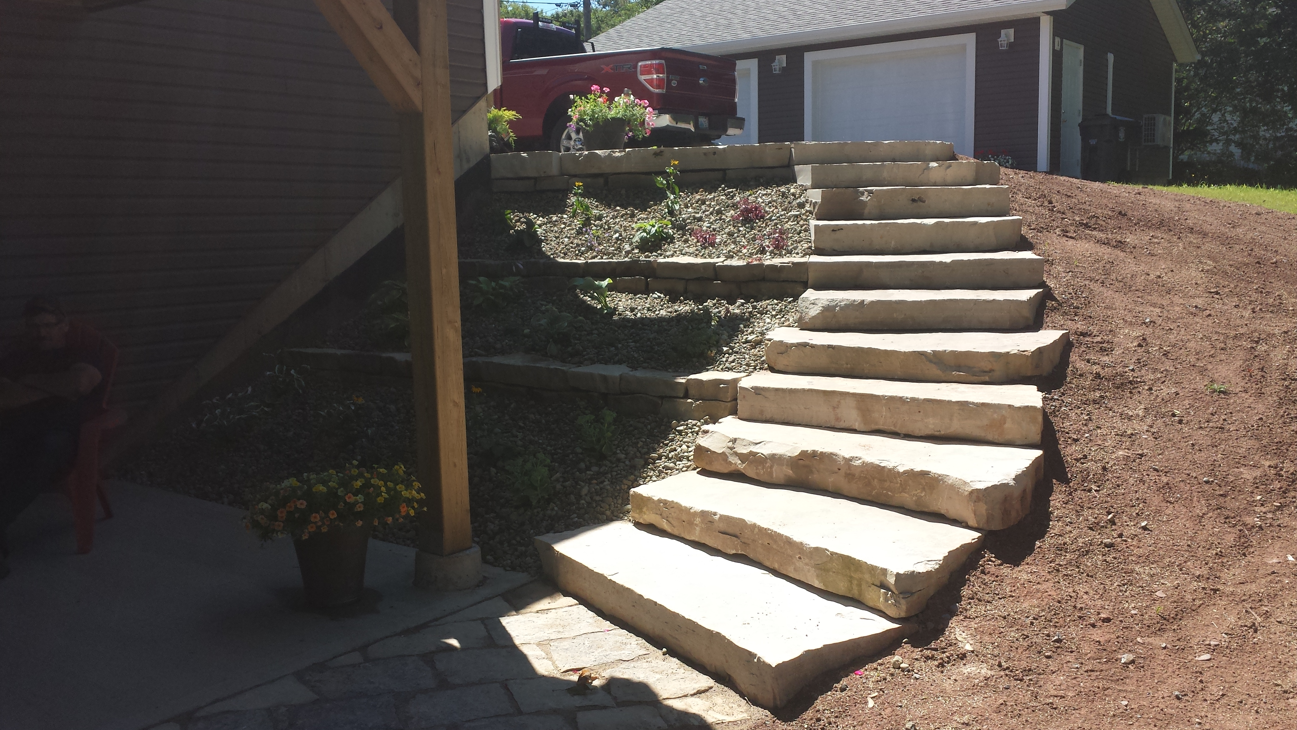 elevated stepping stone flower bed 2