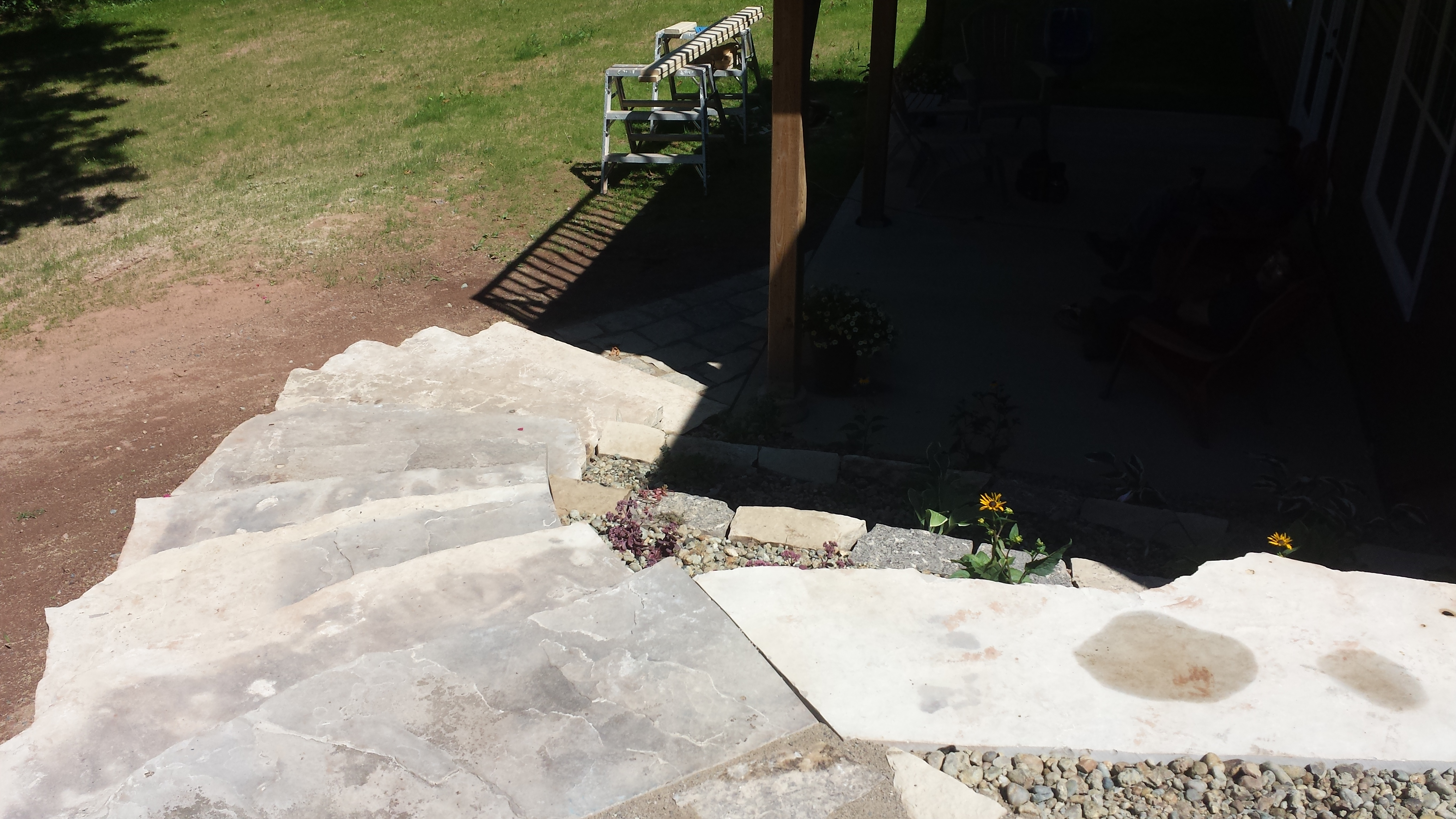 elevated stepping stone flower bed 3